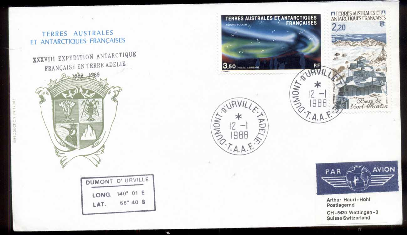French Antarctic Territory 1988 Polar Lights, Base Station Cover