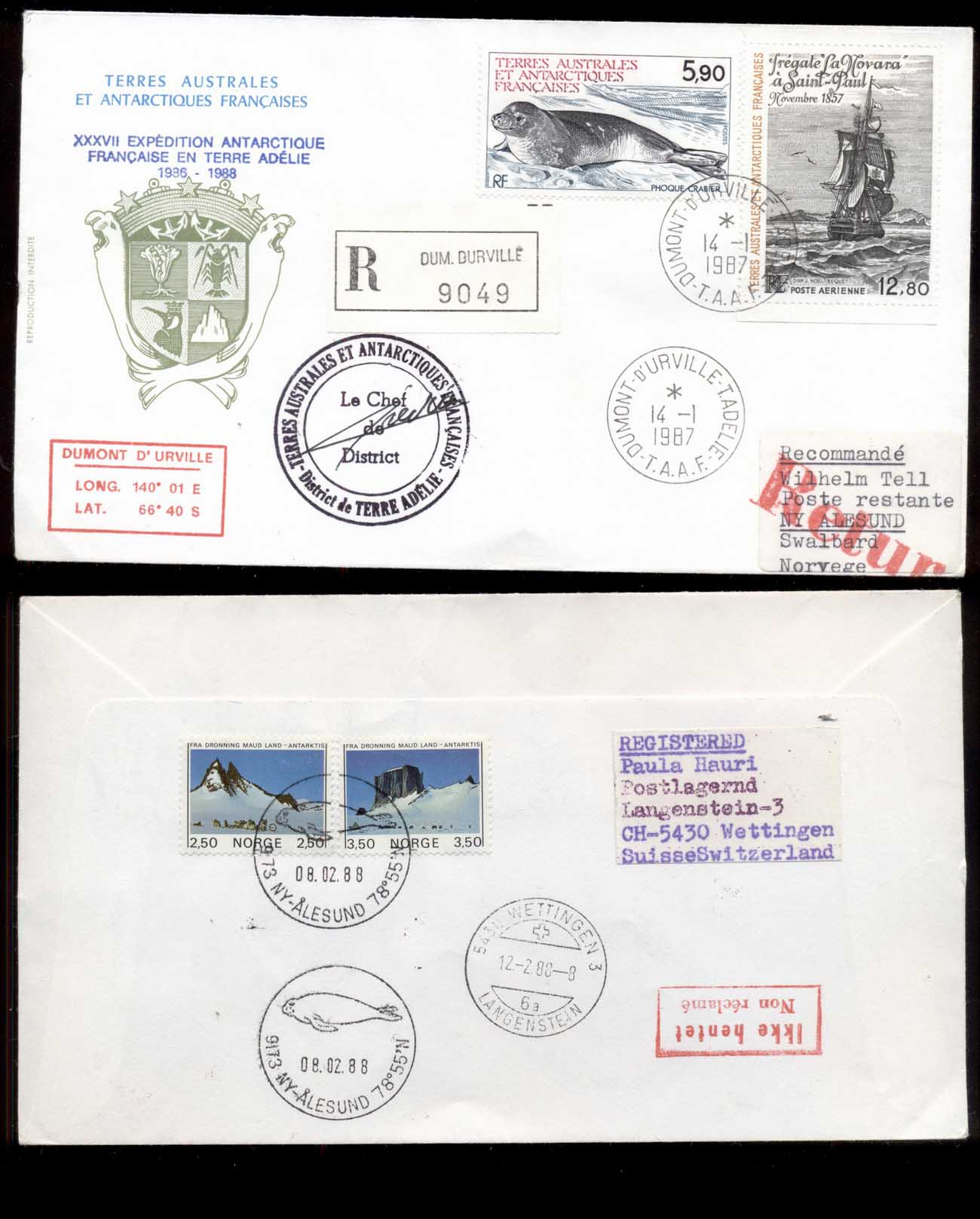 French Antarctic Territory 1987 Sailing Ship, Frigate La Novara, Seal Cover