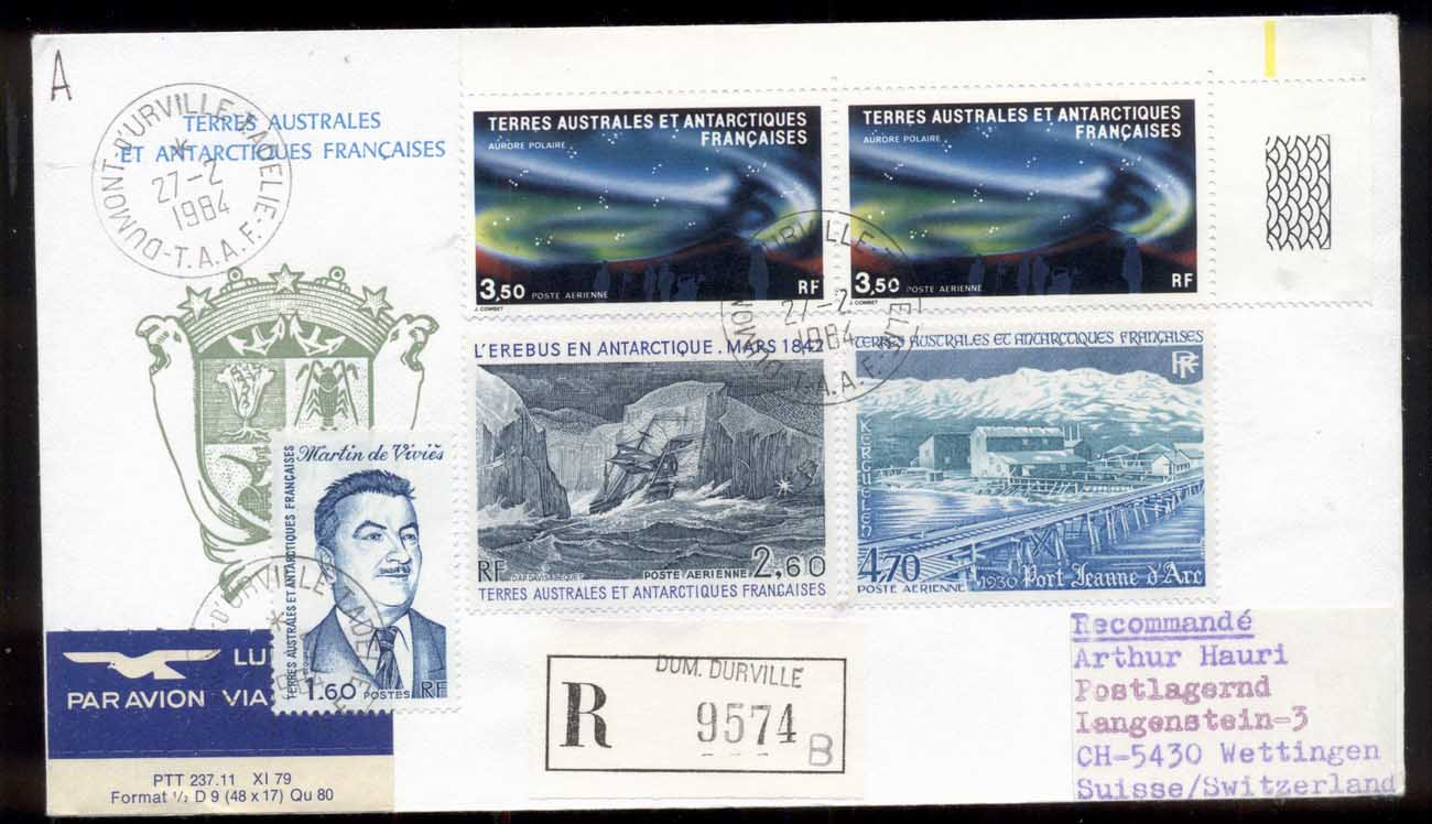 French Antarctic Territory 1984 Polar Lights, Base Station, Sailing Ship Erebus Cover