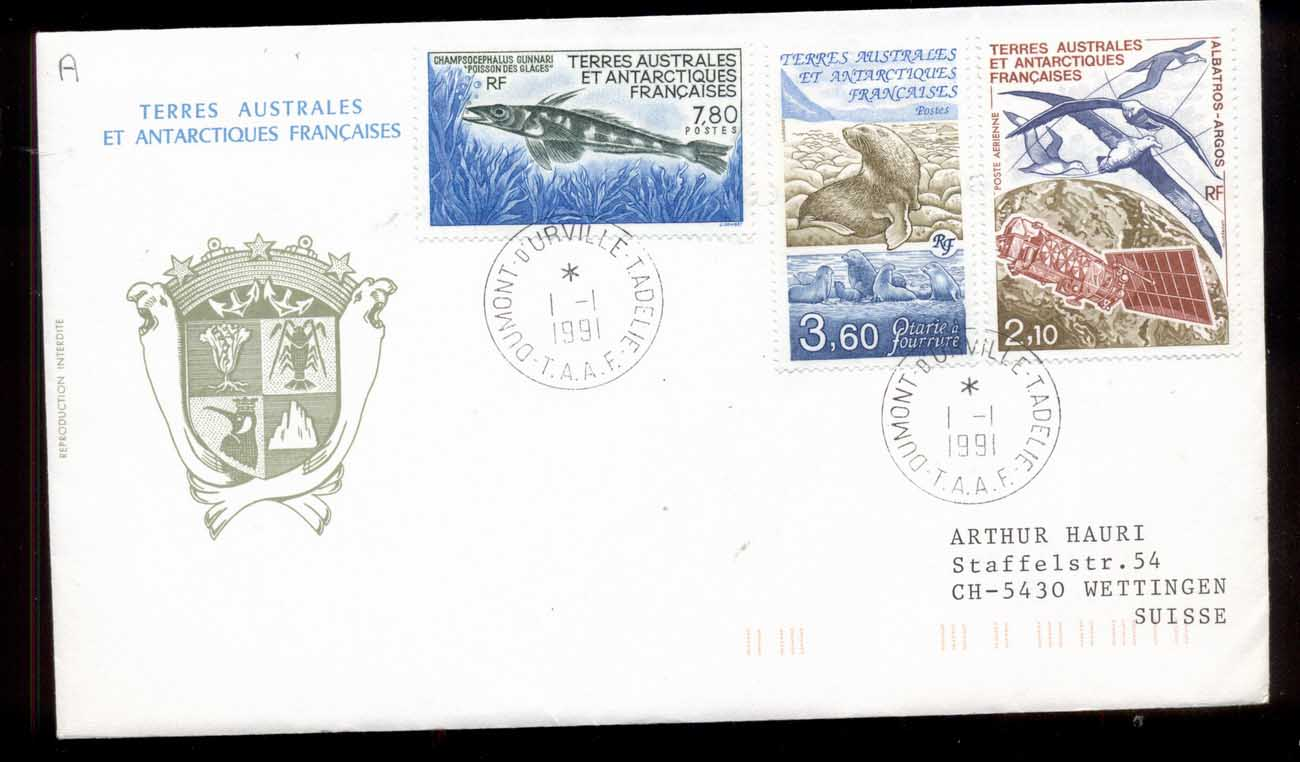 French Antarctic Territory 1991 Fish, Seal, Space Satellite cover