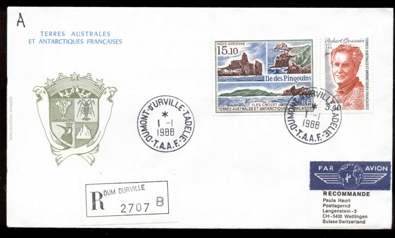 French Antarctic Territory 1988 Penguin Island, Explorer cover