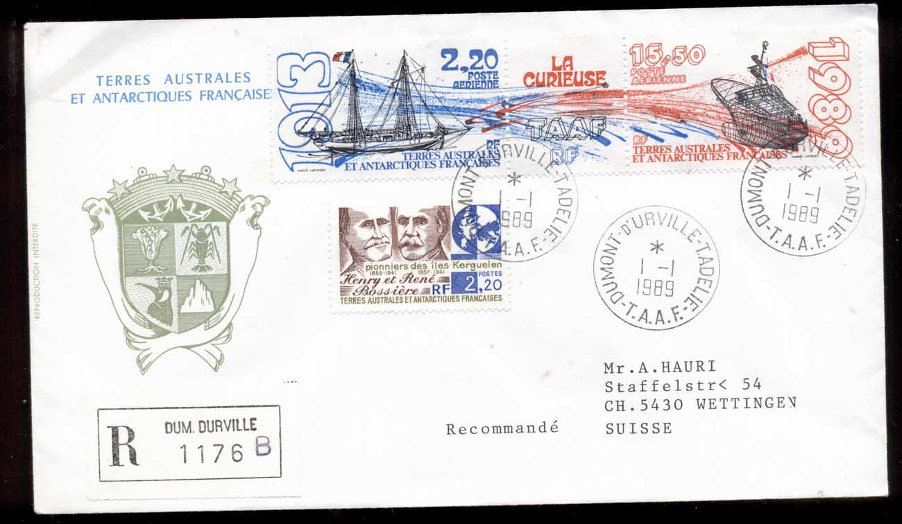 French Antarctic Territory 1989 La Curieuse, Sailing Ship, Explorers Cover