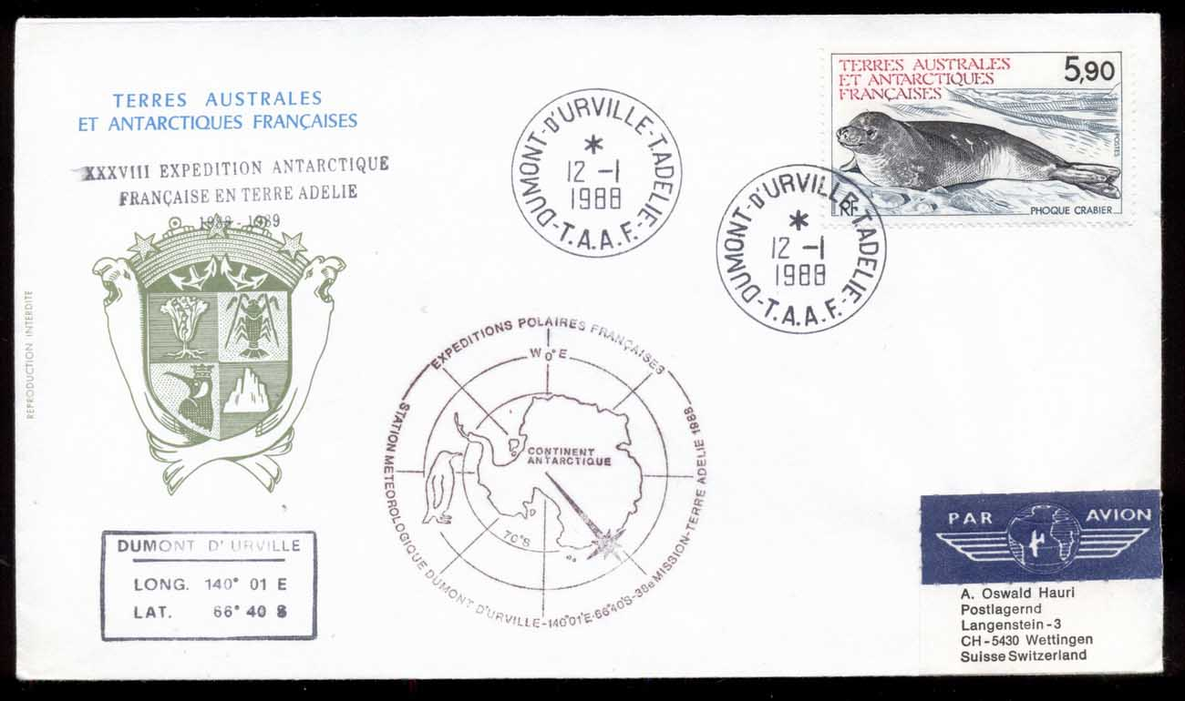 French Antarctic Territory 1988 Seal, Meterological Station, D'urville Cover