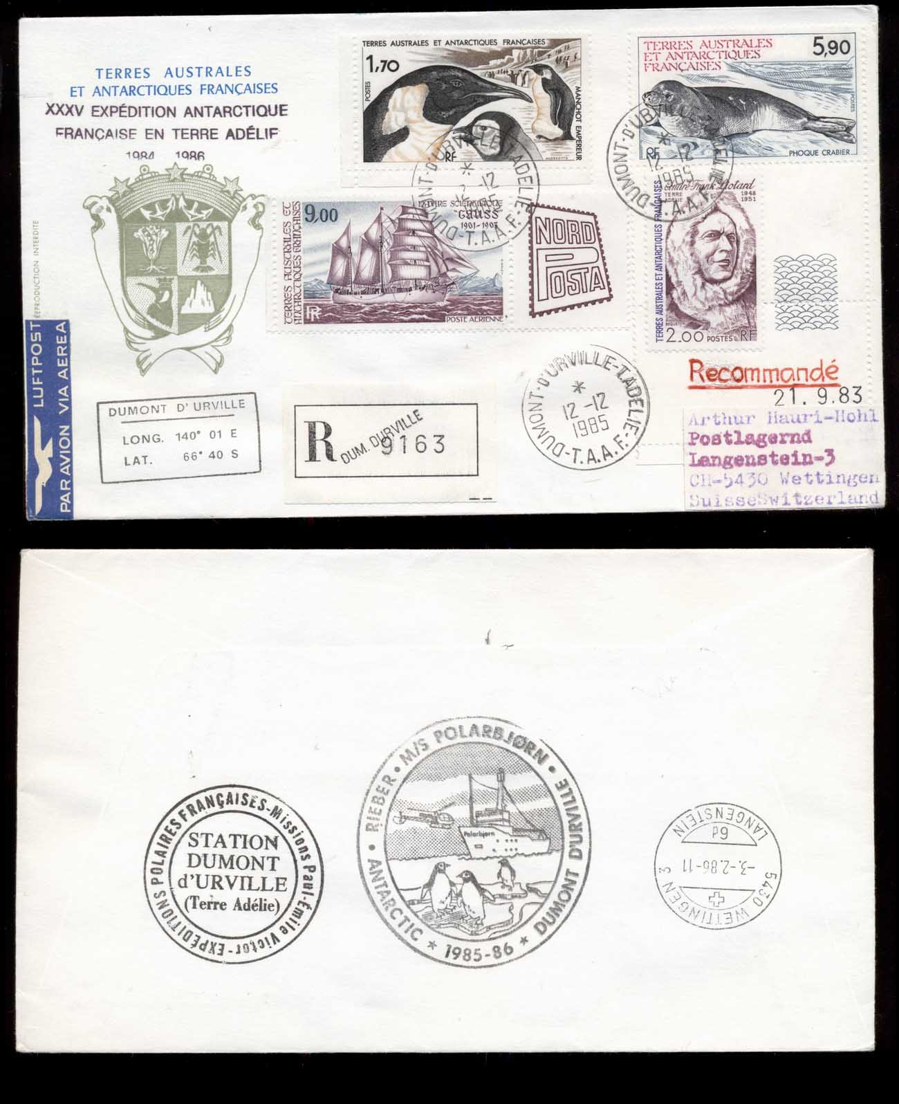 French Antarctic Territory 1985 35th Antarctic Expedition, Bird, Seal, Ship, Explorer cover