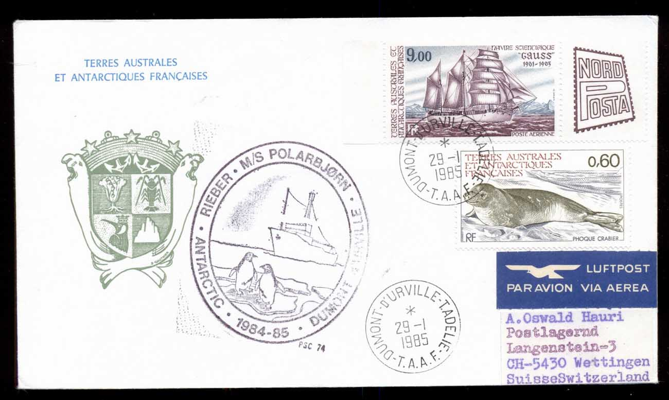 French Antarctic Territory 1985 35th Antarctic Expedition, Seal, Ship, Explorer cover