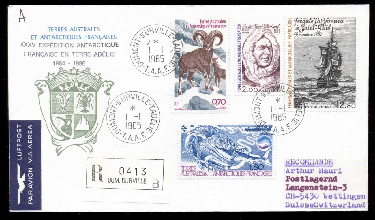 French Antarctic Territory 1985 35th Antarctic Expedition, Mouflon, Whale, Ship, Explorer cover