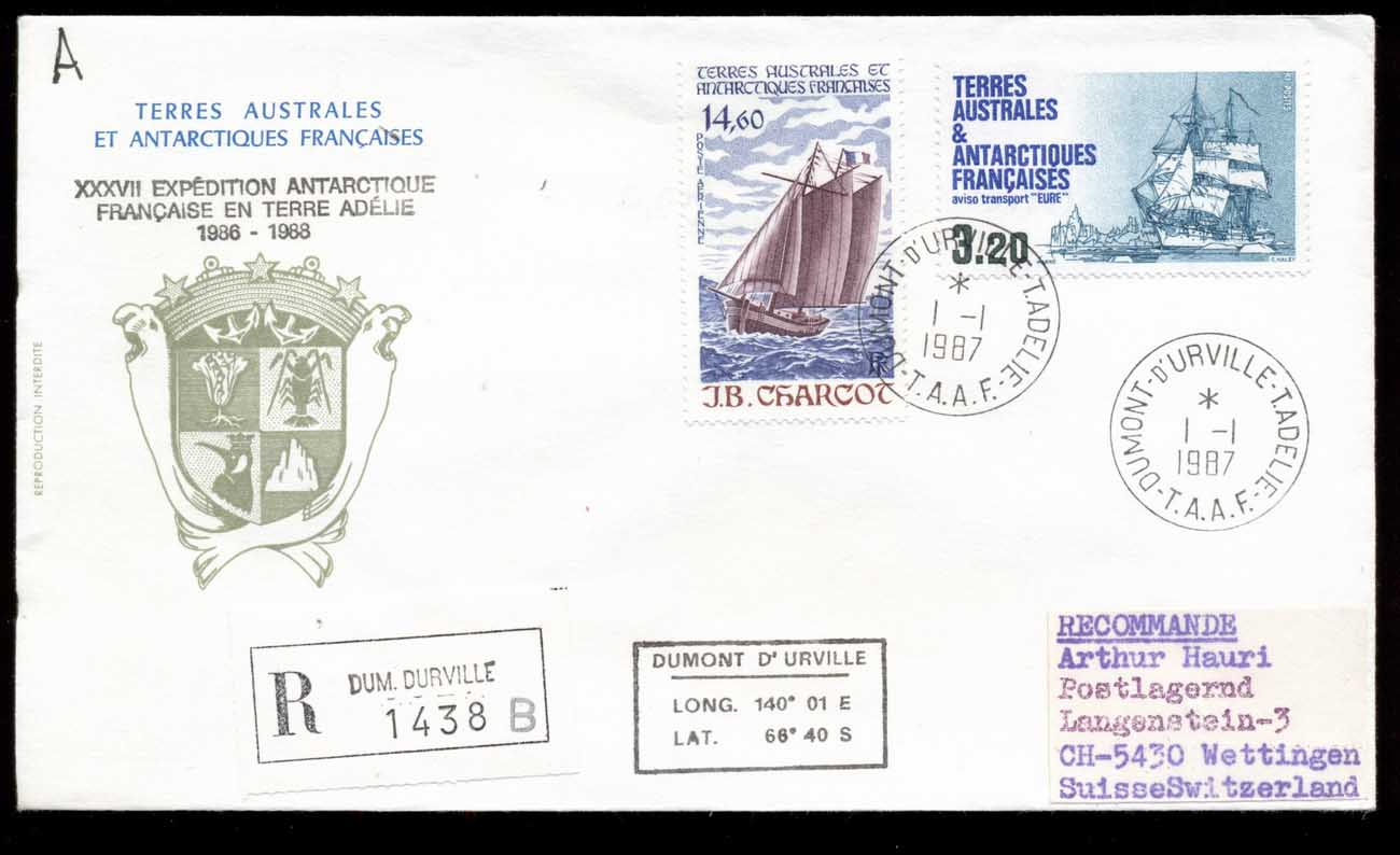 French Antarctic Territory 1987 37th Antarctic Expedition,Sailing Ships cover