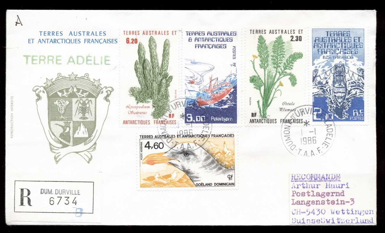 French Antarctic Territory 1986 Sea Grass, Ships, Bird cover