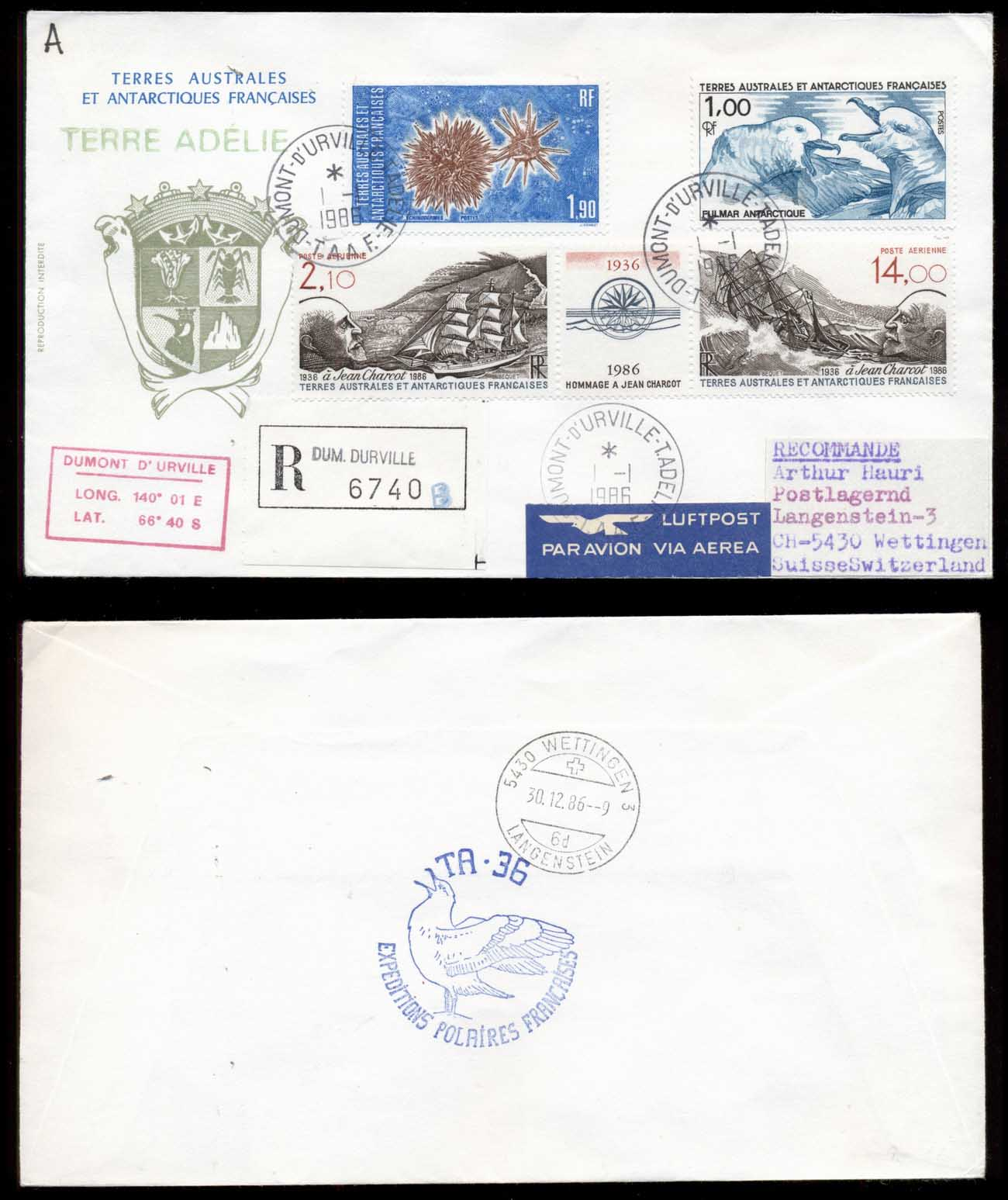 French Antarctic Territory 1986 Sea Urchin, Birds, Sailing Ships, Jean Charcot