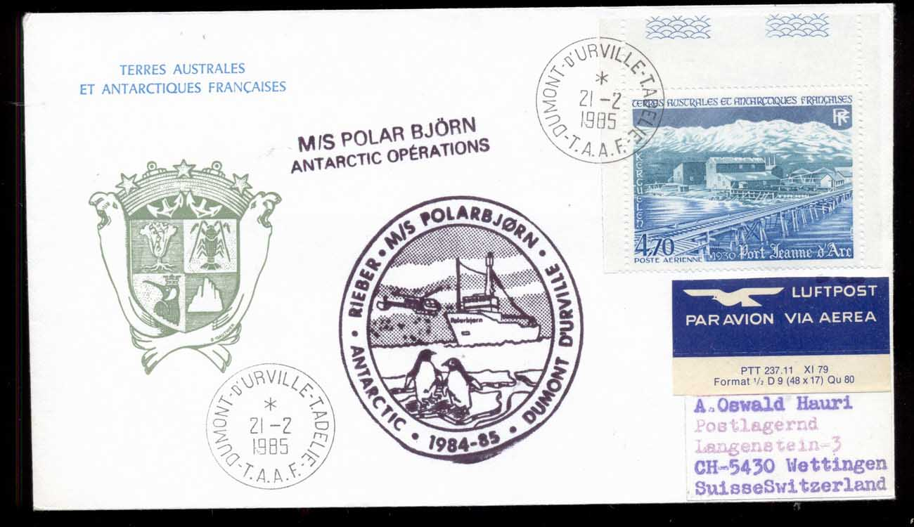 French Antarctic Territory 1985 Port Jeanne D'Arc, Expedition cover
