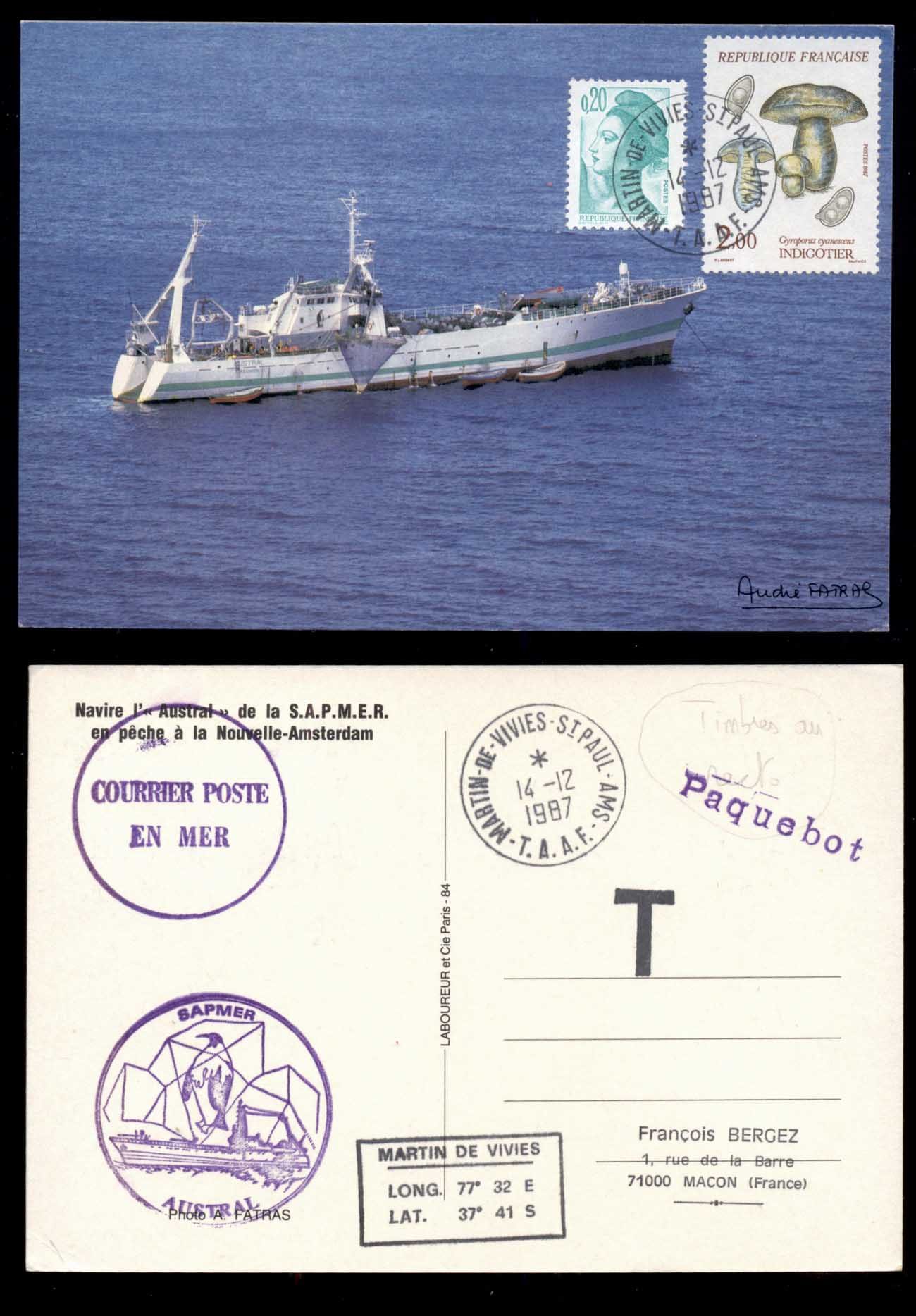 French Antarctic Territory 1987 Ships, Funghi PPC