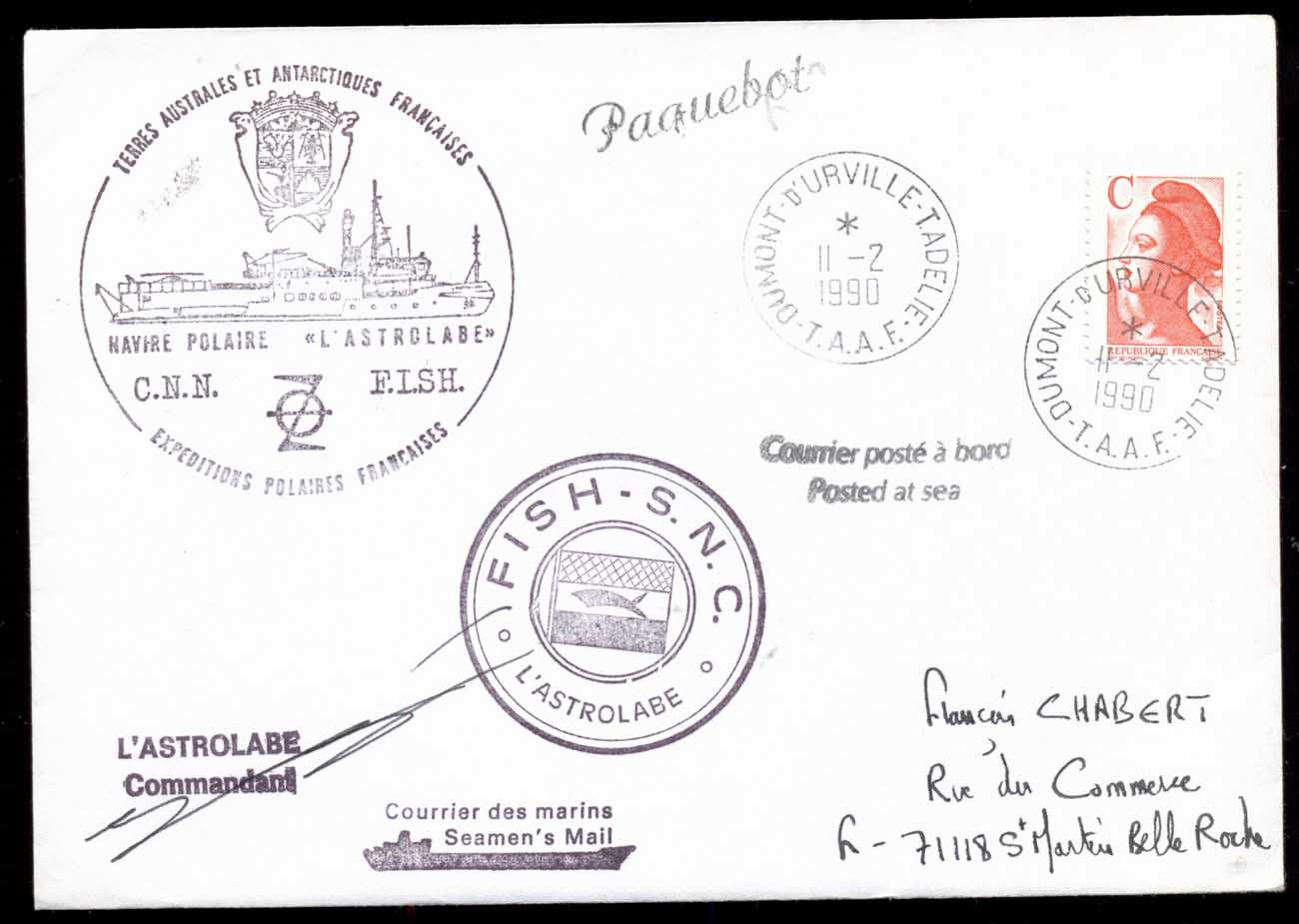 French Antarctic Territory 1990 Astrolabe Ship cover