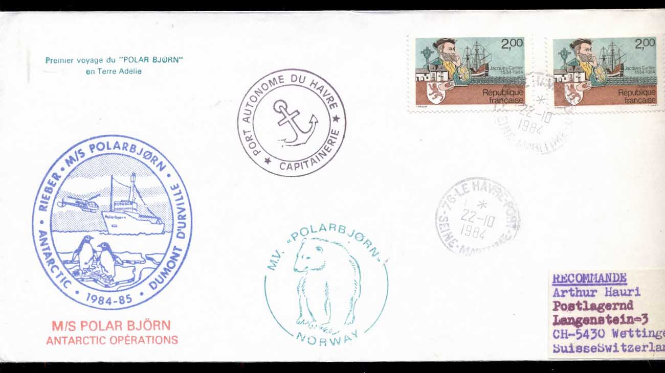 French Antarctic Territory 1984 MS Polar Bear, le Havre cover