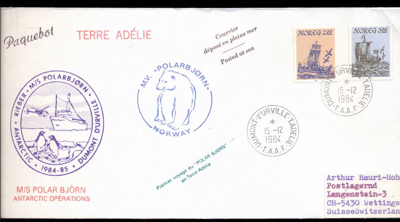 French Antarctic Territory 1984 Polar Bear Voyage, Norway cover