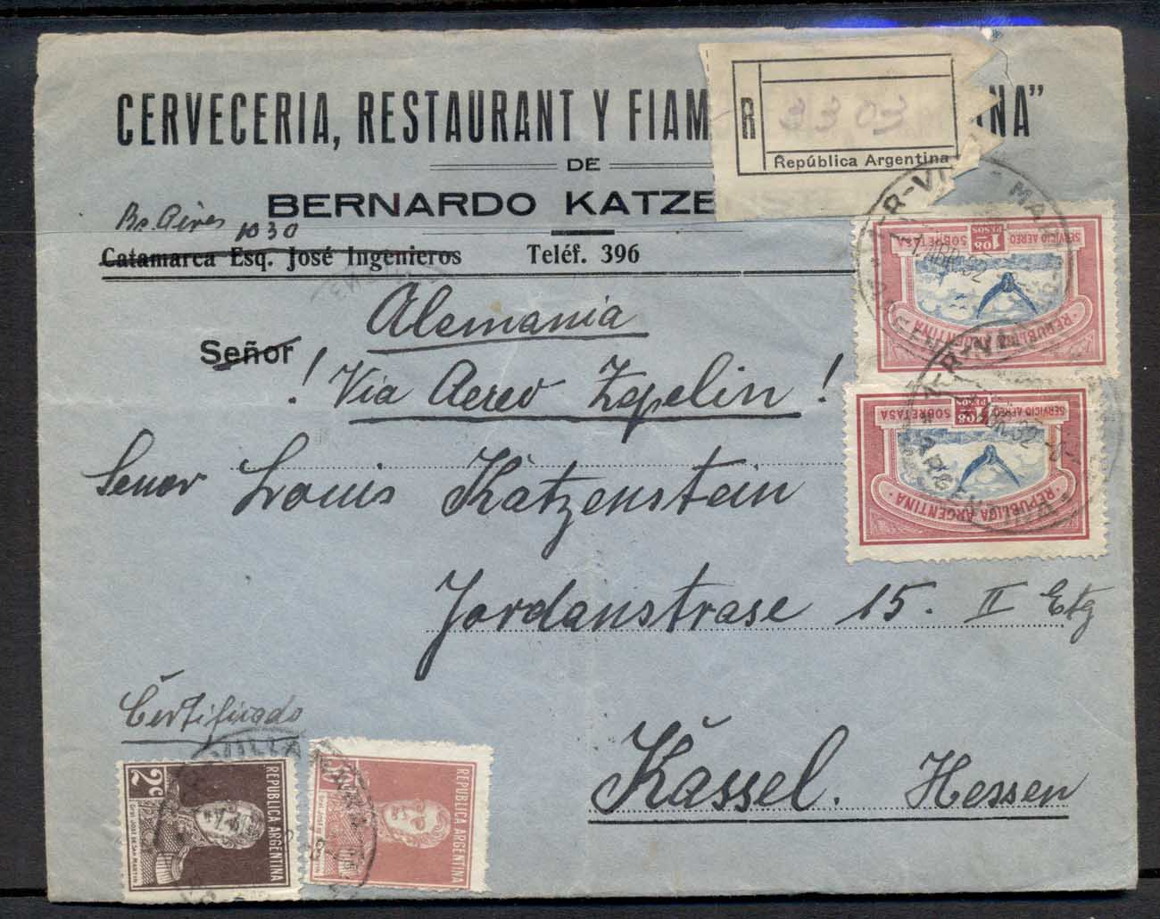 "Argentina 1932 (Apr 1) registered cover to Germany endorsed ""Allemania/! Via Aero Zepelin !"" with 1928 1p08 Air x2 plus San Mart"