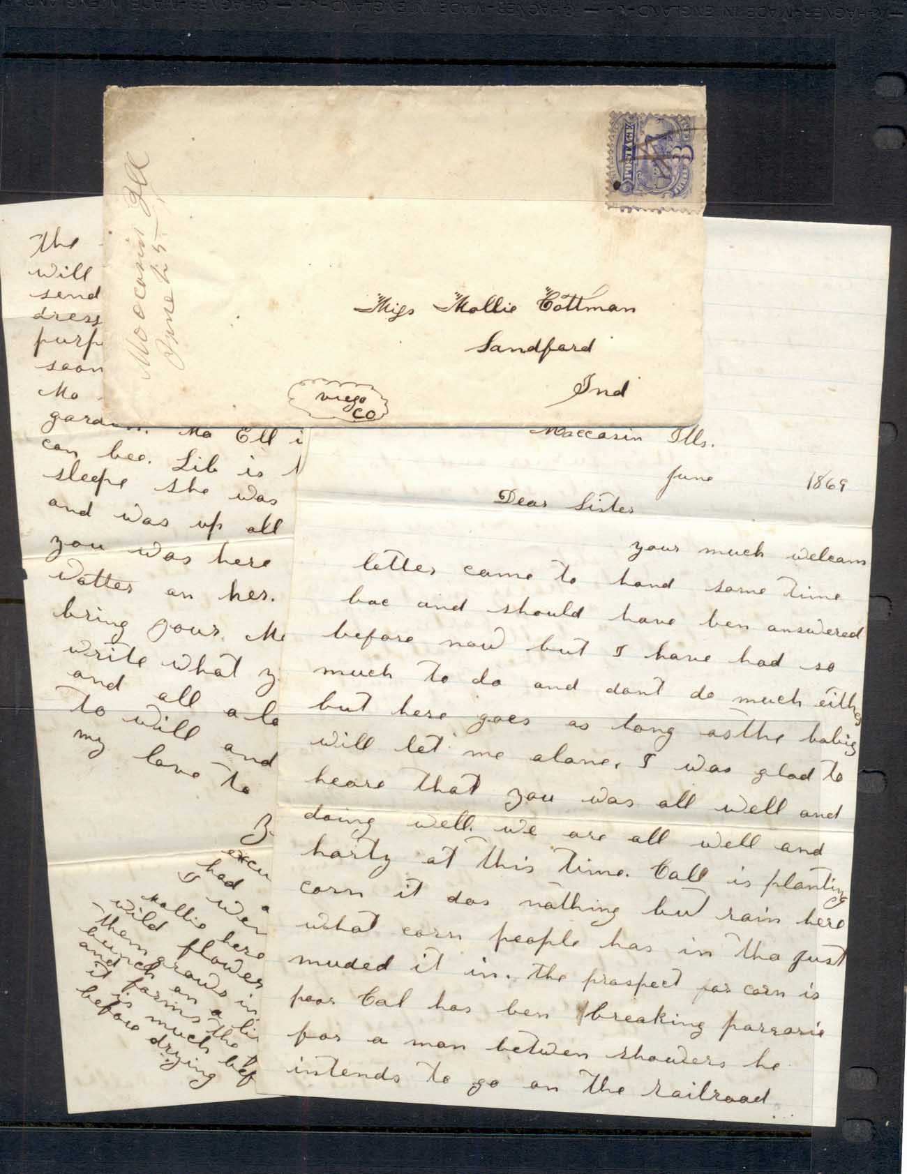 USA 1869 cover, 3c locomotive with family letter from brother to sisters