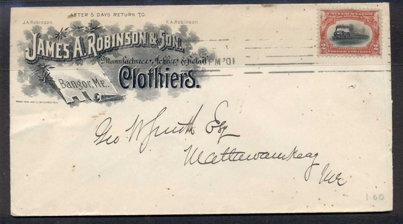 USA 1901 2c Pan American on Clothiers Advertising cover