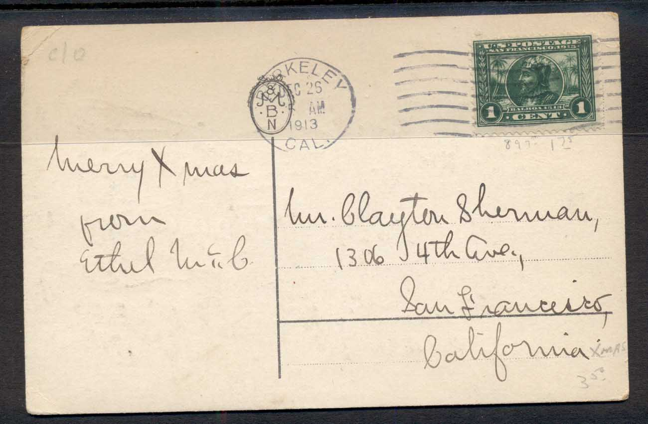 USA 1913 Panama Pacific 1c on Xmas PPC