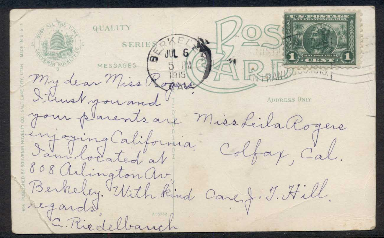 USA 1915 Panama Pacific 1c on Railroad, Steamboat Rocks PPC