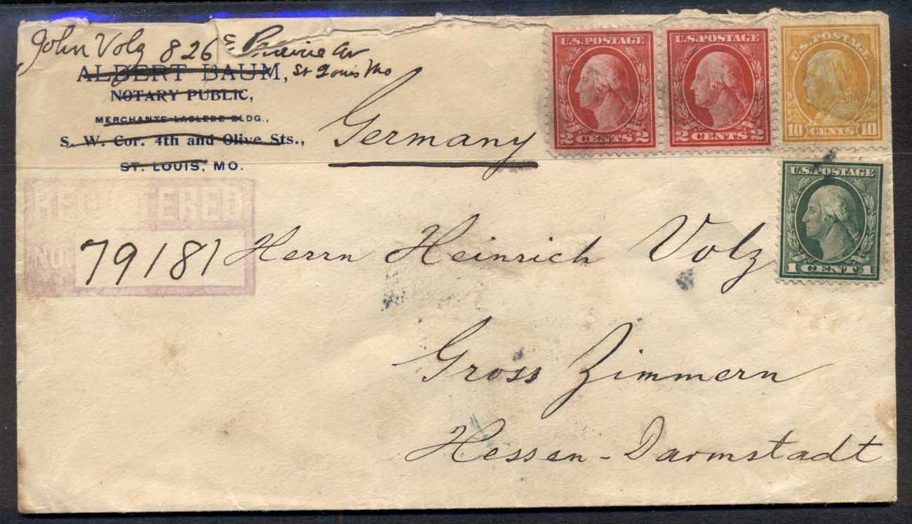 USA 1914 Washington-Franklin mixed franking to Germany cover