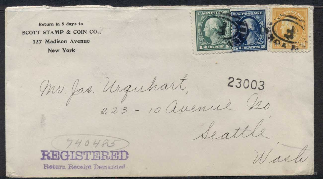 USA 1913 Washington-Franklin mixed franking Stamp Dealer Advertising cover