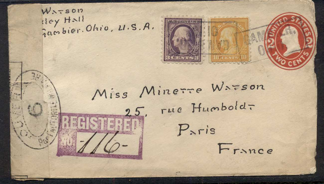 USA 1916 Washington -Franklin uprated PS cover Registered to France