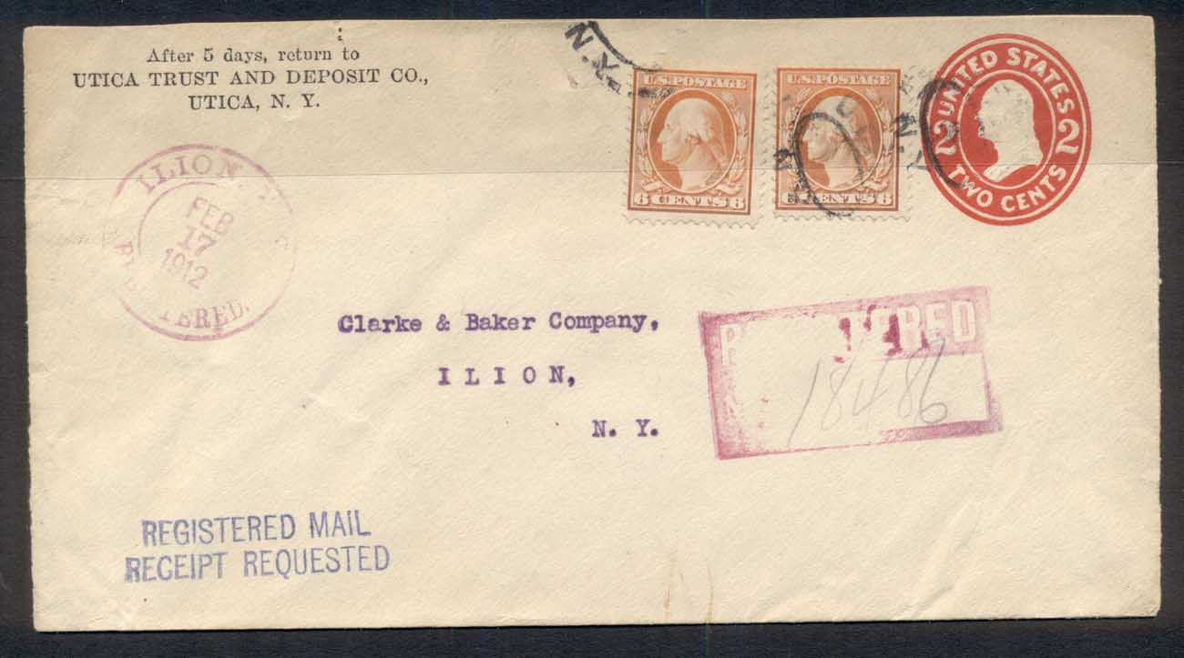 USA 1912 Uprated 2x 6c Washington, Bank CC cover to NY