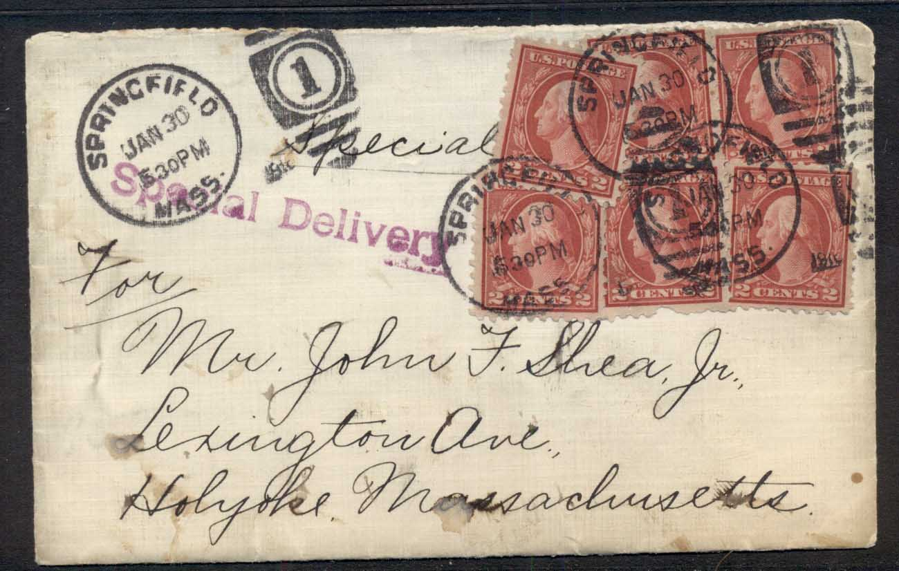 USA 1916 Washington 6x2c Special Delivert, missing backflap, cover to Massachusetts