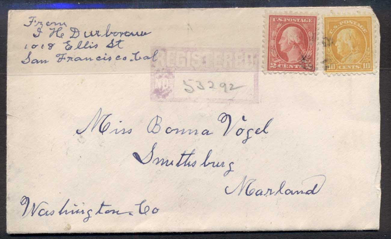 USA 1916 Washington-Franklin Registered cover to Maryland