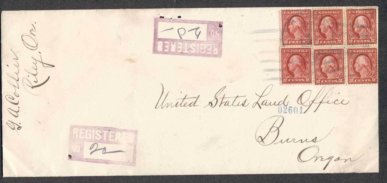 USA 1912 2x2c Washington legal, Registered cover to Oregon