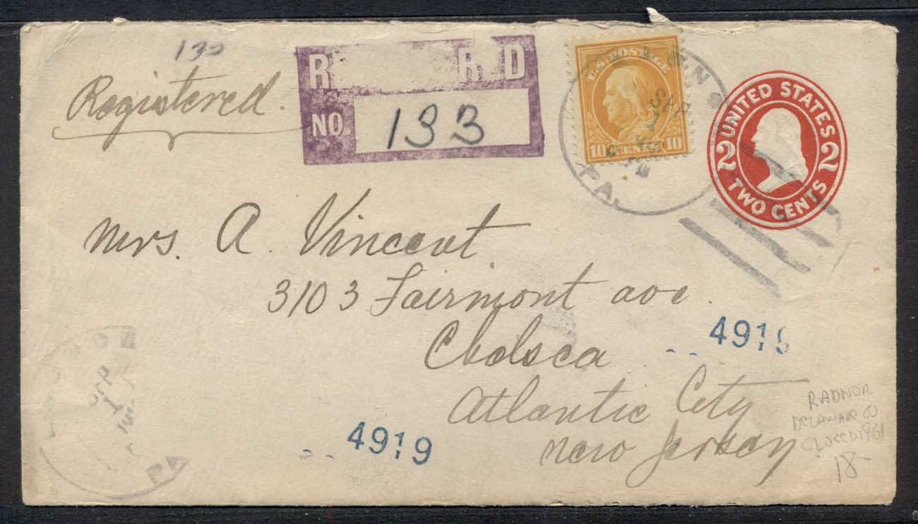 USA 1916 uprated PS, Franklin Registered to Atlantic City cover