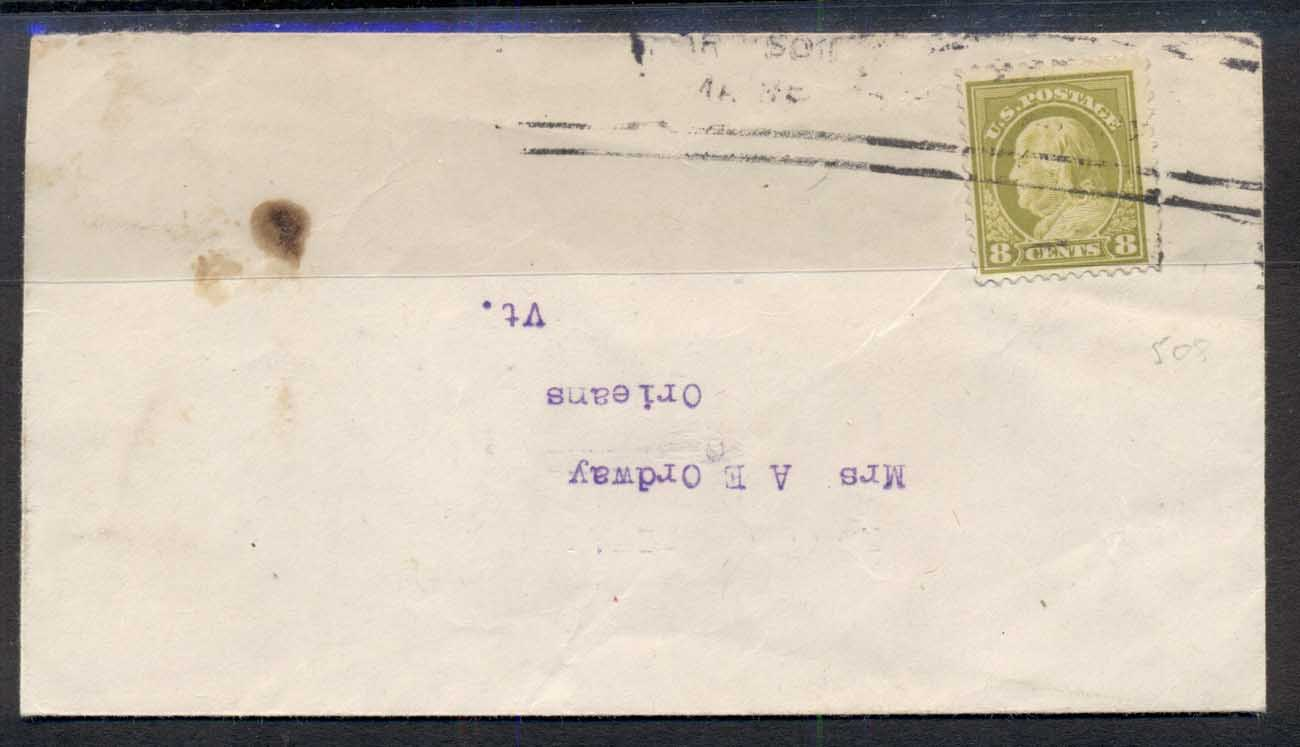 USA 1917 8c Franklin Sc#508 solo cover to Orleans