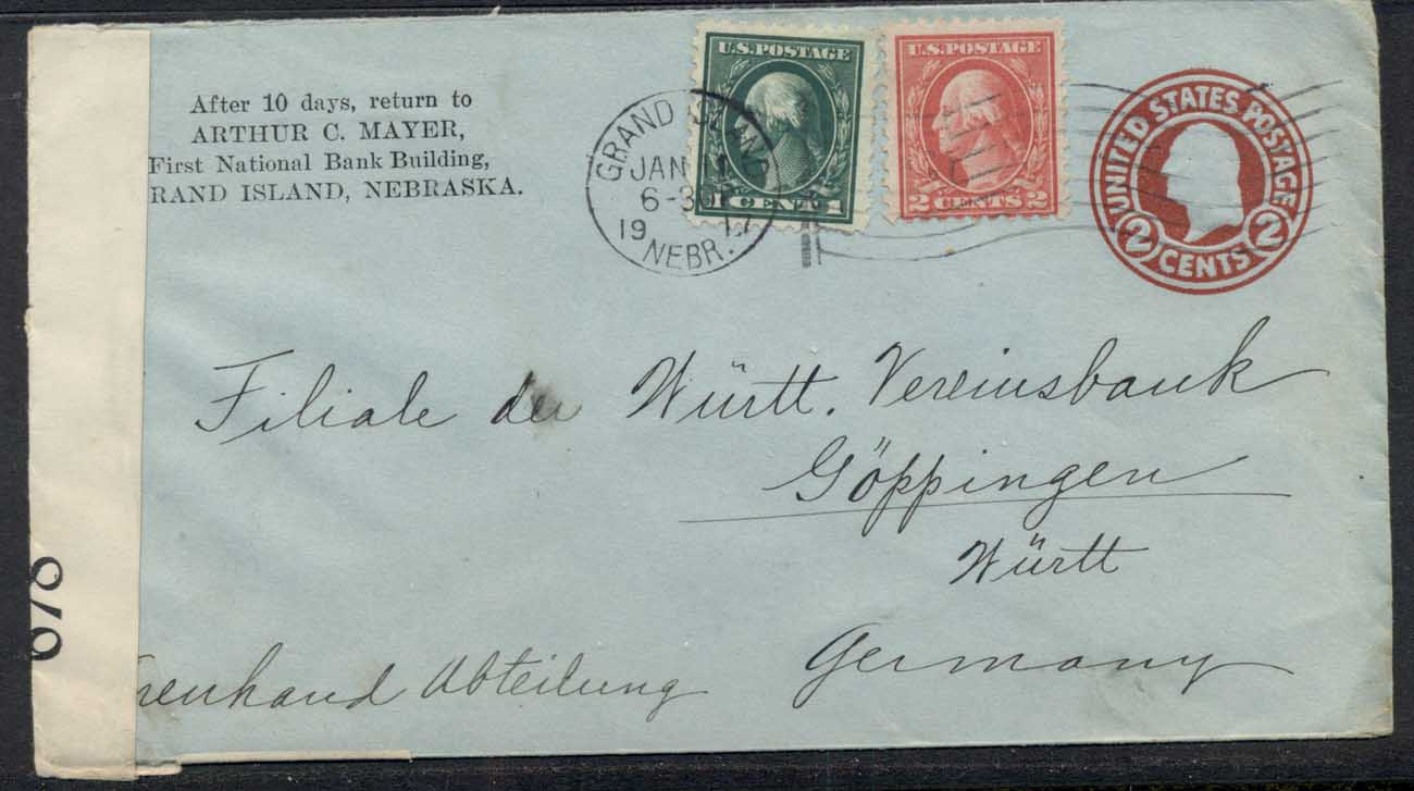 USA 1917 Uprated 1c, 2c Washington CC cover to Germany