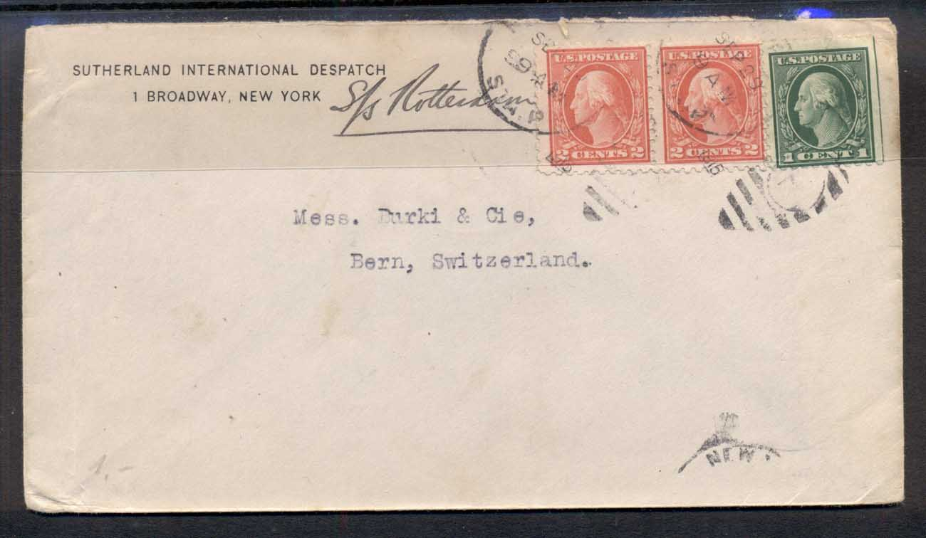 USA 1915 2x2c, 1c Washington CC cover to Switzerland