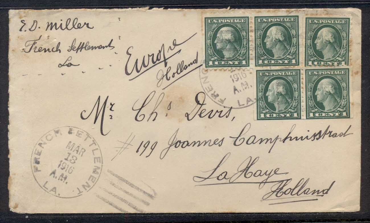 USA 1916 5x1c Washington cover to Holland