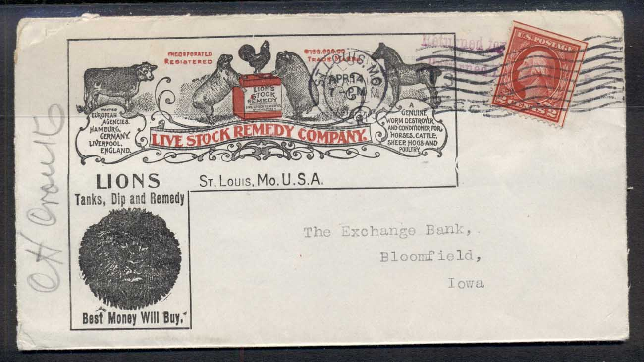USA 1913 2c Washington Advertising Cover, Live Stock Remedy to Iowa