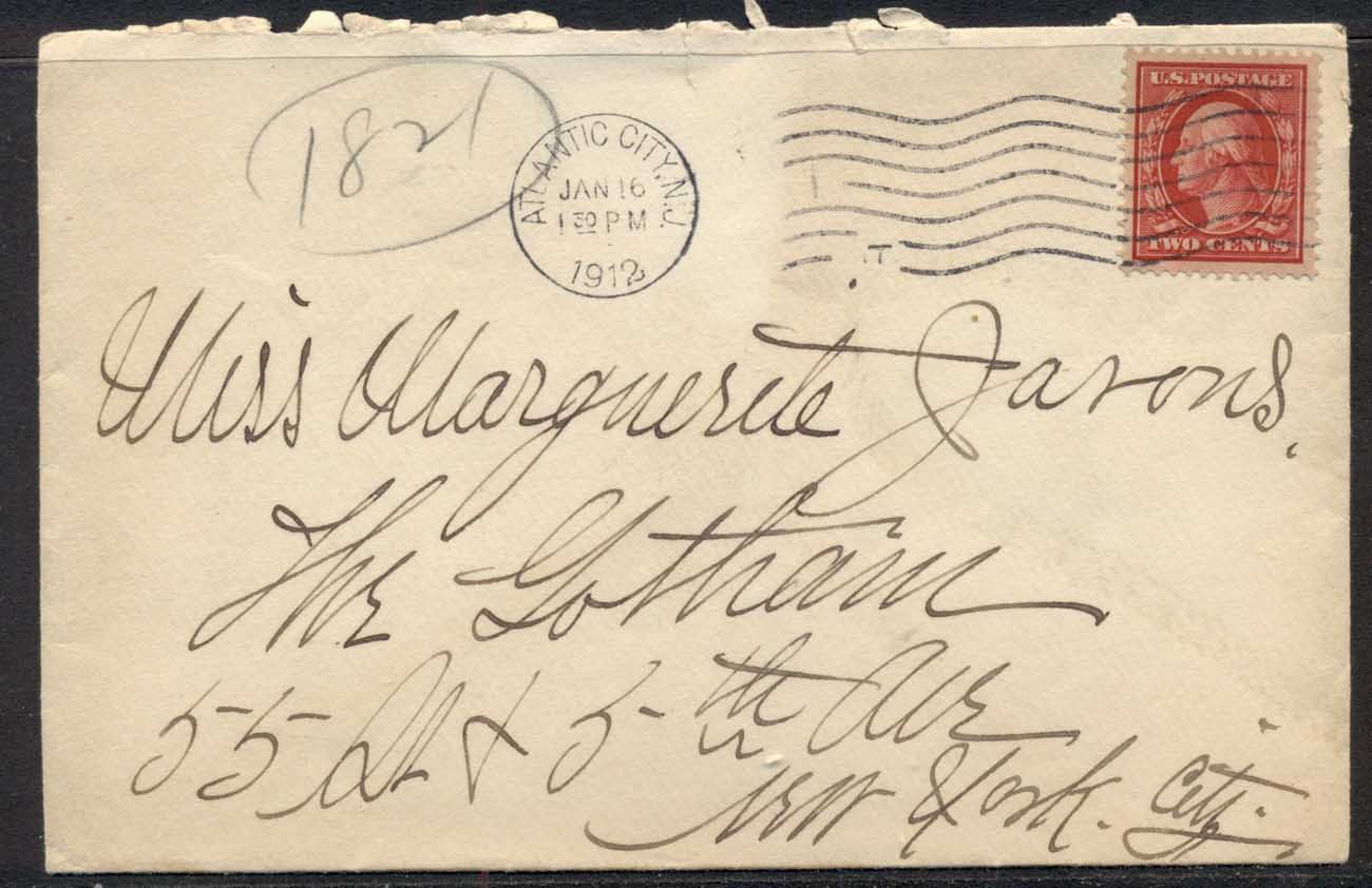 USA 1912 2c Washington cover to NY, Hotel Brighton