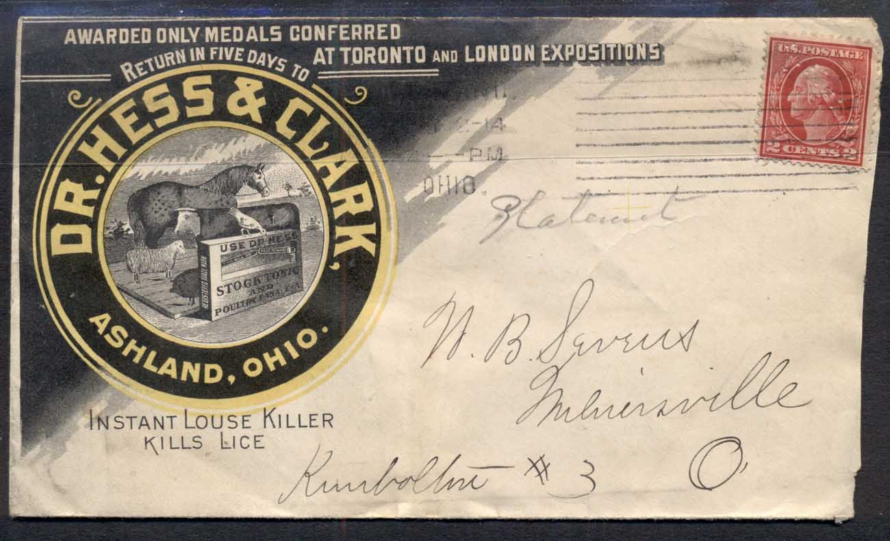 USA 1914 2c Washington Advertising Cover, Livestock, Louse Killer