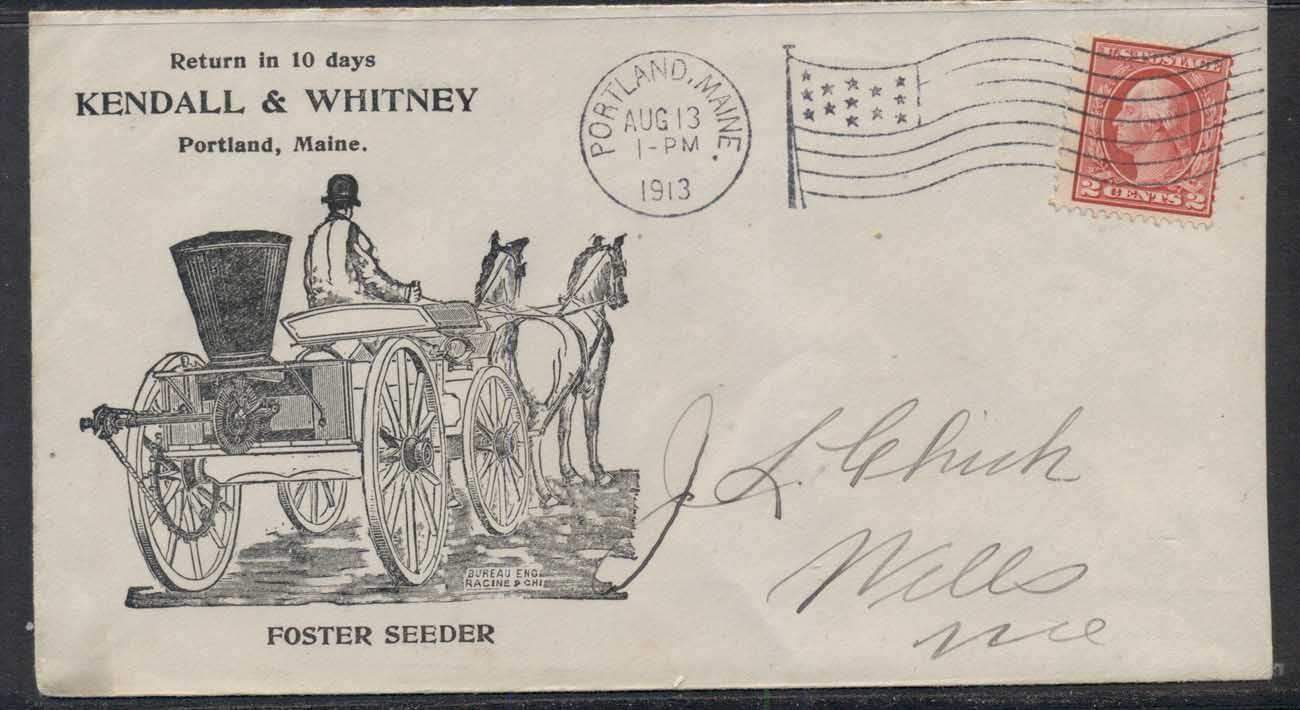 USA 1913 2c Washington Advertising Cover, Horse & Cart , Farming Seeder