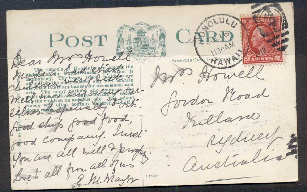 USA 1913 2c Washington PPC from Hawaii to Australia, Royal School Honolulu