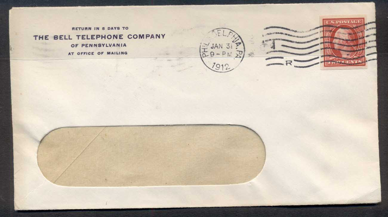 USA 1912 2c Washington Schermack CC cover, Bell Telephone