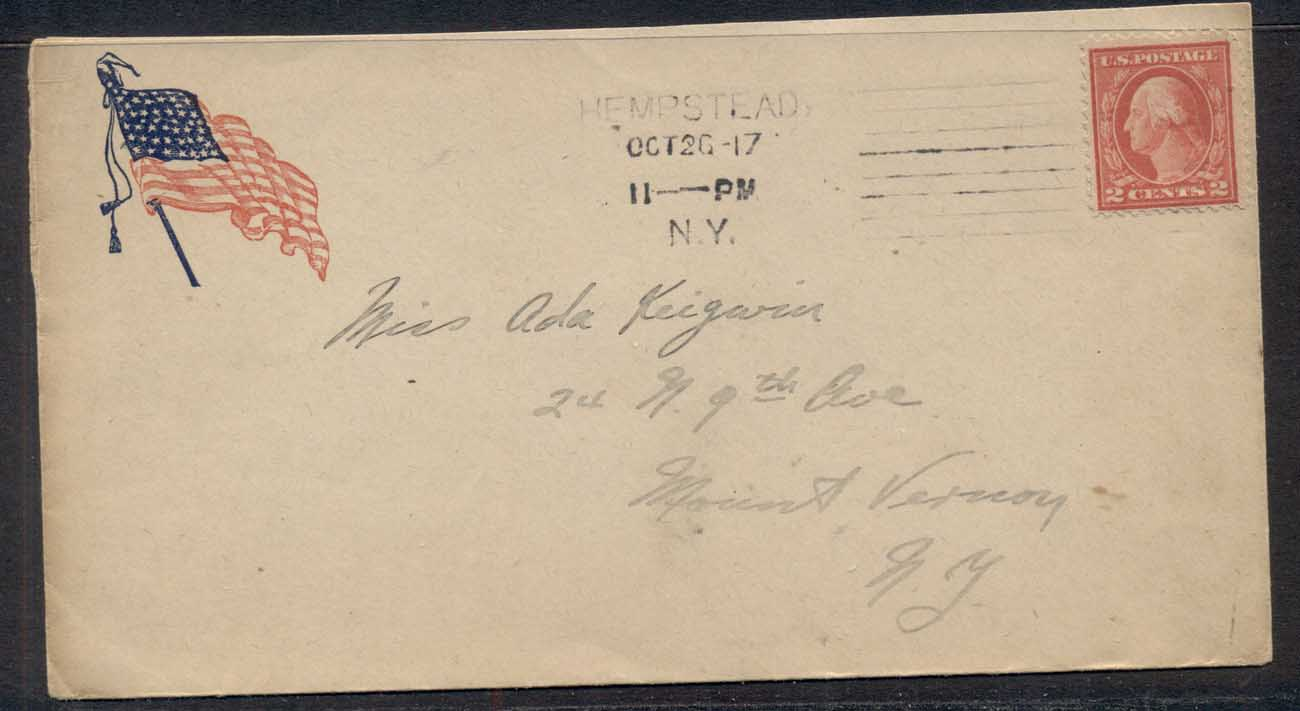 USA 1917 2c Washington, Patriotic Flag cover to NY, Army & Navy