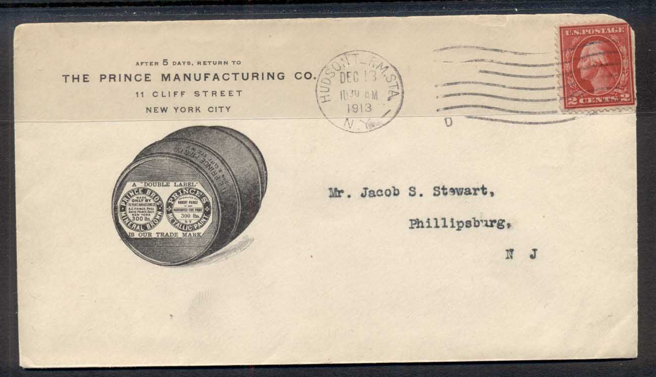 USA 1913 2c Washington Advertising Cover, Barrel Manufacturing