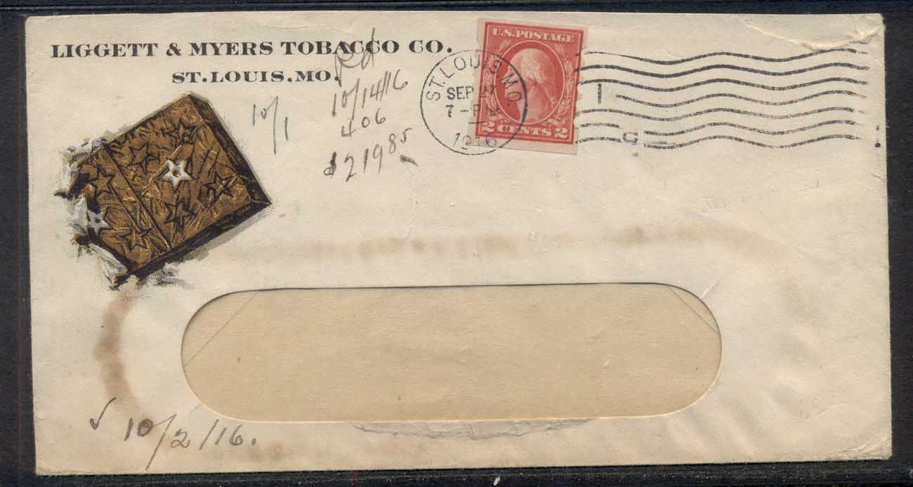 USA 1916 2c Washington Schermack Advertising Cover, Tobacco, Liggett & Myers
