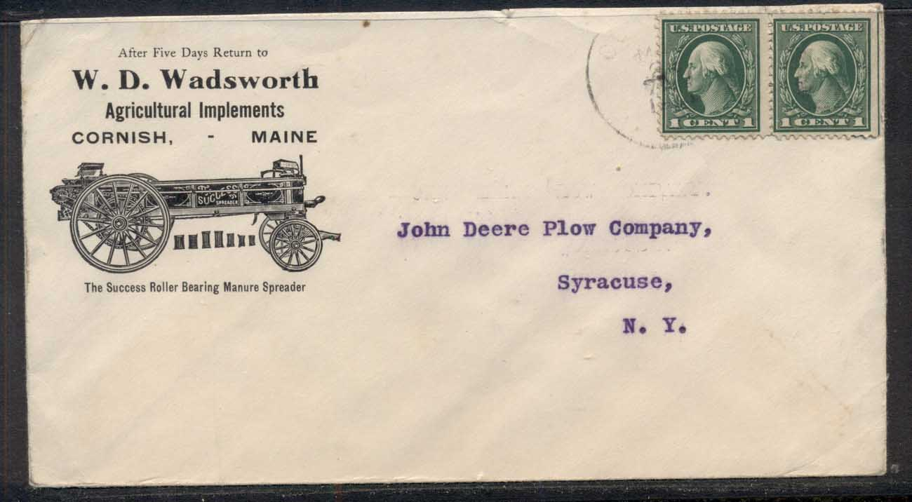 USA 1915 2x1c Washington Advertising Cover, Agricultural Implements