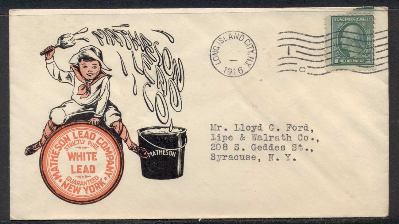 USA 1916 1c Washington Advertising Cover, Lead Paint