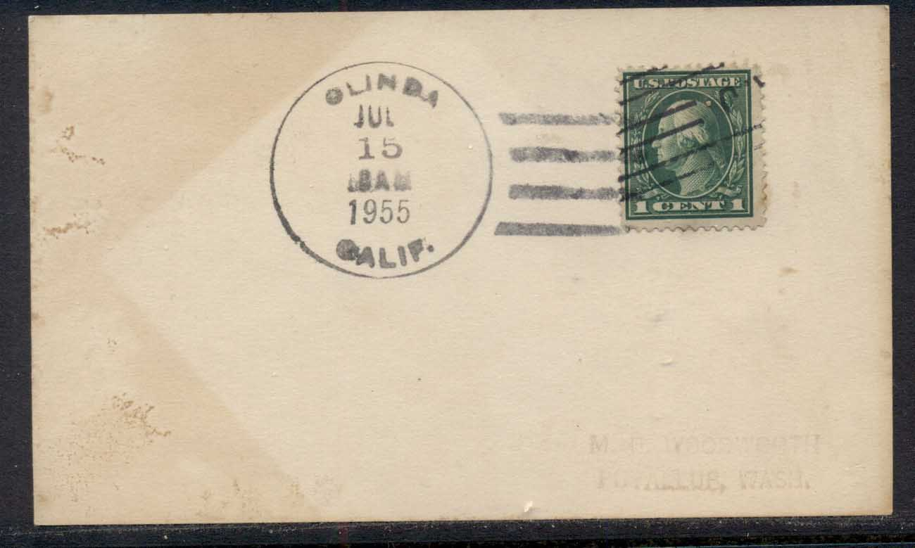 USA 1915 1c Washington card 1955 datestamp ??
