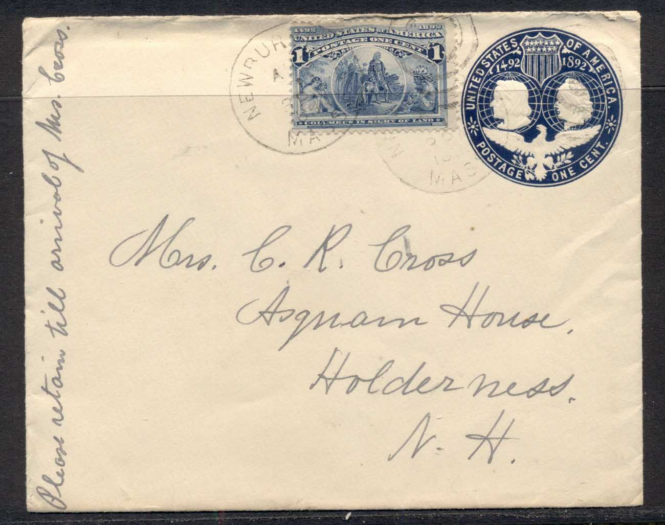 USA 1893 Uprated 1c Columbian cover to Holderness