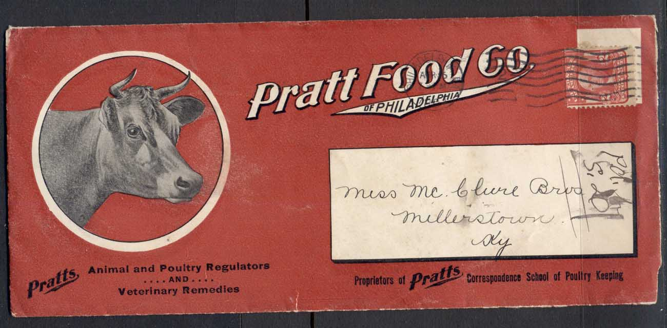 USA 1901 2c Washington Advertising Cover, Animal & Poultry, Cow, Prett Food, large size