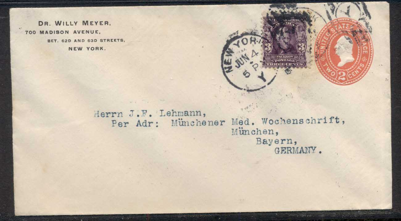 USA 1903 Uprated 3c Jackson cover to Germany